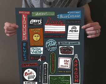 Chicago Music Venues - Chicago Signs - Chicago Live Music - Chicago Music Bars - 16x20 Art Print
