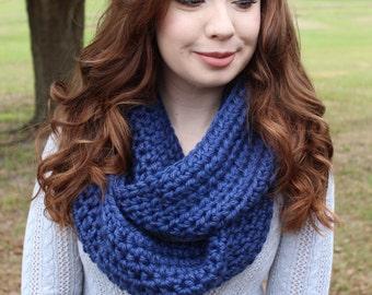 Chunky Crocheted Dark Denim Blue Infinity Scarf