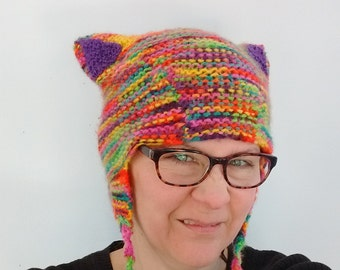 Rainbow Kitty Cat Ears Hat Aviator Style With Pompoms  Earflaps Youth Large to Adult Small/Medium Size