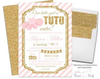 Tutu Birthday Invitations, Ballerina Birthday Invitations, Girls Birthday Invitations, 1st Birthday Invitations, Pink and Gold Glitter