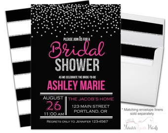 HOT PINK and SILVER Bridal Shower Invitation - Bachelorette Party Invitation - Bridal Shower Invite - Engagement Party - Bride-To-Be