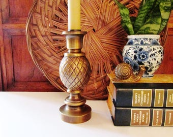 Vintage Brass Pineapple Candlestick Lamp, Entry Decor, Accent Lamp, Hollywood Regency, Traditional Decor Table Lamp, Home Office Decor