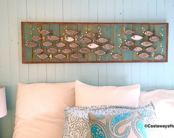 Wood School of Fish Wall Art or Headboard Queen Size Sign Driftwood Colours Beach Lake House Wall Decor by CastawaysHall
