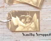 10 Angel Tags ... Cherub, Sisters, Friends, Vintage, Black and White, Sepia, Gift Tag, Labels, Embellishment, Packaging, DIY