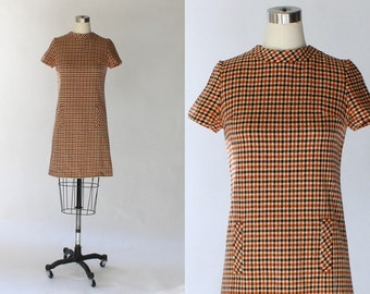 1960s Gingham Wool Shift Dress // 60s Vintage Short Sleeve Red Blue and Cream Mini Dress // Small