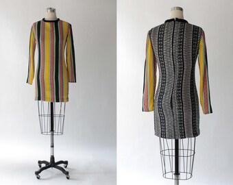 1970s Striped Metallic Mini Dress // 70s Vintage Short Multi Color Long Sleeve Contrast Dress // XS