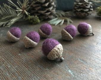 Wool felt acorns, set of 6, Plum Purple, purple wool acorns, montessori color sorting, waldorf purple, purple table decor, gifts under 20