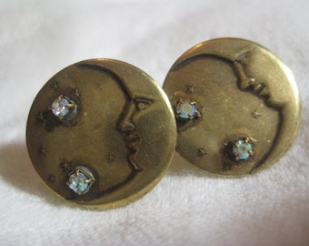 Vintage Man in the Moon Earrings;  Rhinestone Trim, Vintage 1980's Stamped Brass, Pierced, Old Stock, Unused, 18mm, 1 Pr