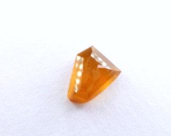 Orange Hessonite Garnet Faceted Cabochon. Natural Gemstone. Geometric Tavernier Cut Rock Candy Gem Cab. 1 pc. 2.75 cts. 10x8 x4 mm (GA972)