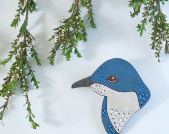 Fairy Penguin Embroidered Birdie Wearable Art Brooch by Winnifreds Daughter
