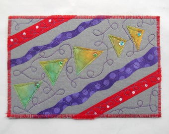 Quilted Art Postcard -- Party Time