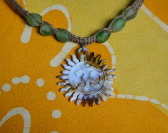 Carved Ohm Om Aum African Recycled Glass Bead Hemp Necklace