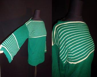 Tan & Green Striped Bell Sleeve Vintage 1970's BOHO Women's Boatneck Sweater M