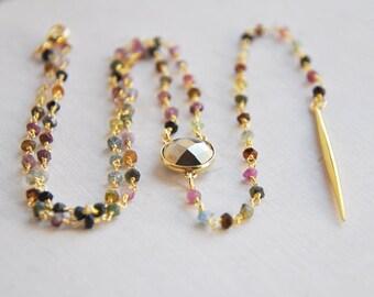 Tourmaline Necklace, Rosary Necklace, Pyrite Necklace, Spike Necklace, Long Necklace, Y Necklace, Lariat Necklace, Layering Necklace, Boho