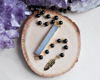 Druzy Necklace, Feather Necklace, Black Necklace, Long Necklace, Beaded Necklace, Lariat Necklace, Bohemian Necklace, Boho Necklace, Druzy