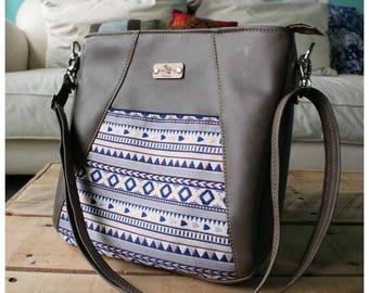 Crossbody bag - grey recycled leather bag -