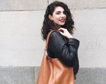 Lauren bag - Tote bag - brown recycled leather bag - brown hobo bag - Custom listing - tote bag - slouch bag