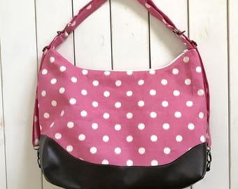 LARGE Hot Pink Polka Dot Chameleon bag - Diaper Bag Backpack - Quick Changing Straps - Shoulder Bag - Backpack