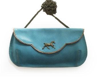 SALE Leather clutch, Light blue clutch, Evening bag, Light blue leather purse, Blue large clutch with dark horse