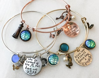 Mermaid Charm Bracelet, Mermaid Bracelet, Hand Stamped, Expandable Bangle, Adjustable, Personalized Bangle, Quote, beacon, swim, fin, ocean