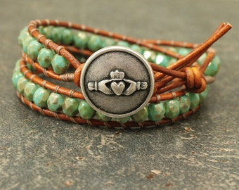 Claddagh Jewelry Silver and Turquoise Claddagh Bracelet Beaded Leather Friendship Jewelry St Patrick's Day Bracelet