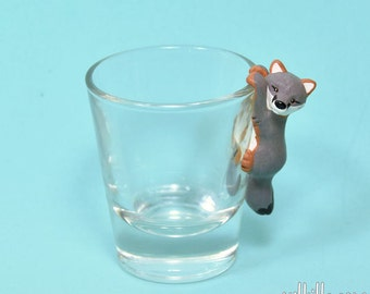 Hand Sculpted Gray fox 1.5 oz Shotglass