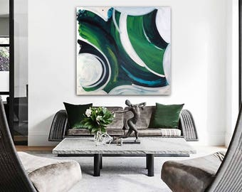 EMERALD iSLE original abstract painting by Linnea Heide - 36x36 acrylic on canvas -green and blue - emerald isle - gestural modern art