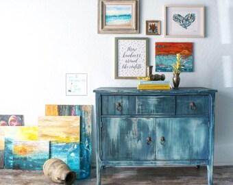Bohemian Blue Vintage Buffet Cabinet