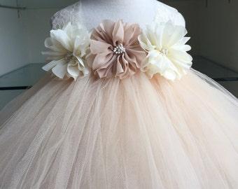 Ivory Champagne Flower Girl Chiffon Flower Tutu Dress, Flower Girl Dress- Wedding Dress- Junior Bridesmaid