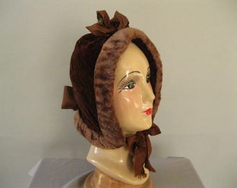 Victorian Velvet Hat Style Hood -  Quilted Sleigh Carriage Bonnet