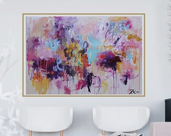 Art,Painting , abstract painting ,abstract acrylic painting ,abstract art-purple,blue, pink,painting on canvas,
