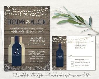 Vineyard Wedding Invitations Set Printable Rustic Wine Country Wedding Invitations String lights- Wine Bottle RSVP and Invite Template Suite