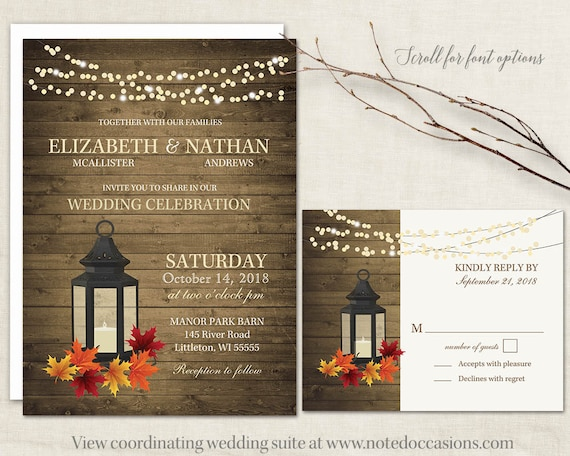 Fall wedding invitation set with rustic fall appeal. Rustic fall wedding lantern wedding invitations designed with the fall wedding in mind