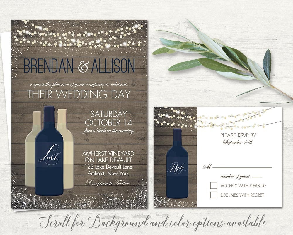 vineyard wedding invitations set printable rustic wine country. Black Bedroom Furniture Sets. Home Design Ideas