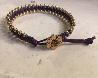 Purple Bracelet - Macrame Jewelry - Leather - Fashion - Trendy - Seed Beads - Gold Flower Button - LSU