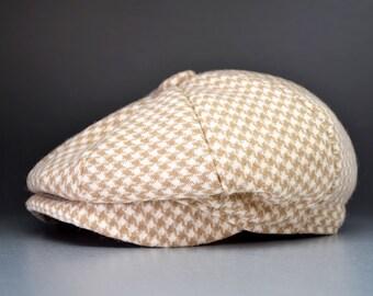 Newsboy Baby Cap 0-36 months,Houndstooth Wool, Custom Handmade by Pink2Blue