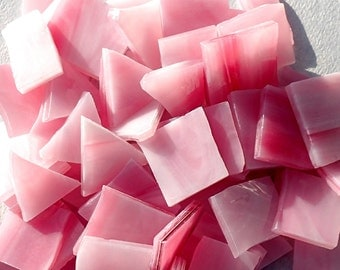 Pink Stained Glass Mosaic Tiles - 1/2 Pound - Approx. 3/4 inch
