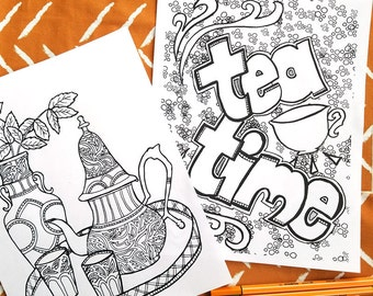 5 Printable Detailed Adult Coloring Pages -  Tea Time Colouring Sheets for Grown-ups - Digital Download