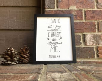 "8"" x 10"" I can do all things through Christ who strengthens me Philippians 4:13 on Stretched Canvas"