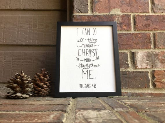 """8"""" x 10"""" I can do all things through Christ who strengthens me Philippians 4:13 on Stretched Canvas"""