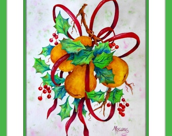 Watercolor Pears, Holly Leaves, Red Berries, Christmas Watercolor, Holiday Art, Red Ribbon, Martha Kisling