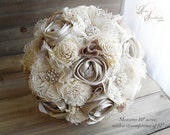 Ready to Ship ~~~ Original One of a Kind Sola Flower, Lace and Champagne Satin Rose Bridal Bouquet, Large with Rhinestones and Pearls