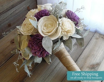 Ready to Ship ~~~ Medium Purple Plum Sola Flower Bridal Bouquet with Eucalyptus Leaves and Jute Wrapped Handle