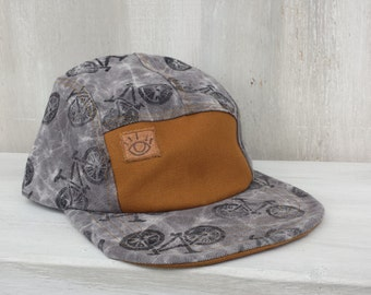 Grey Marbled Canvas 5 panel Bike Print Camp Hat