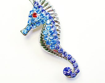 VIntage Nautical Seahorse Brooch Pin Silver Fish Blue Jewelry PETITE