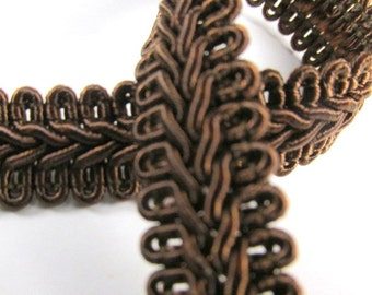 Brown 1/2 inch or 13mm Romanesque Flat Gimp Trim sold by the yard