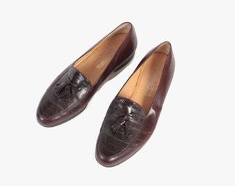 Vintage Men's FERRAGAMO SHOES / 1970s Brown Leather Faux Gator Tassel Loafers 10