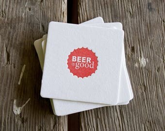 BEER is GOOD Red Coasters, modern beer cap design (Letterpress printed, 3.5 inches) set of 8, perfect gift for home brewer or beer lover