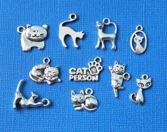 Cat Charm Collection Antique Silver Tone 10 Different Charms - COL025