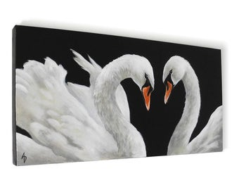 Swan painting - black and white swan lake pair - original fine art canvas painting - wedding painting - anniversary gift for bride & groom